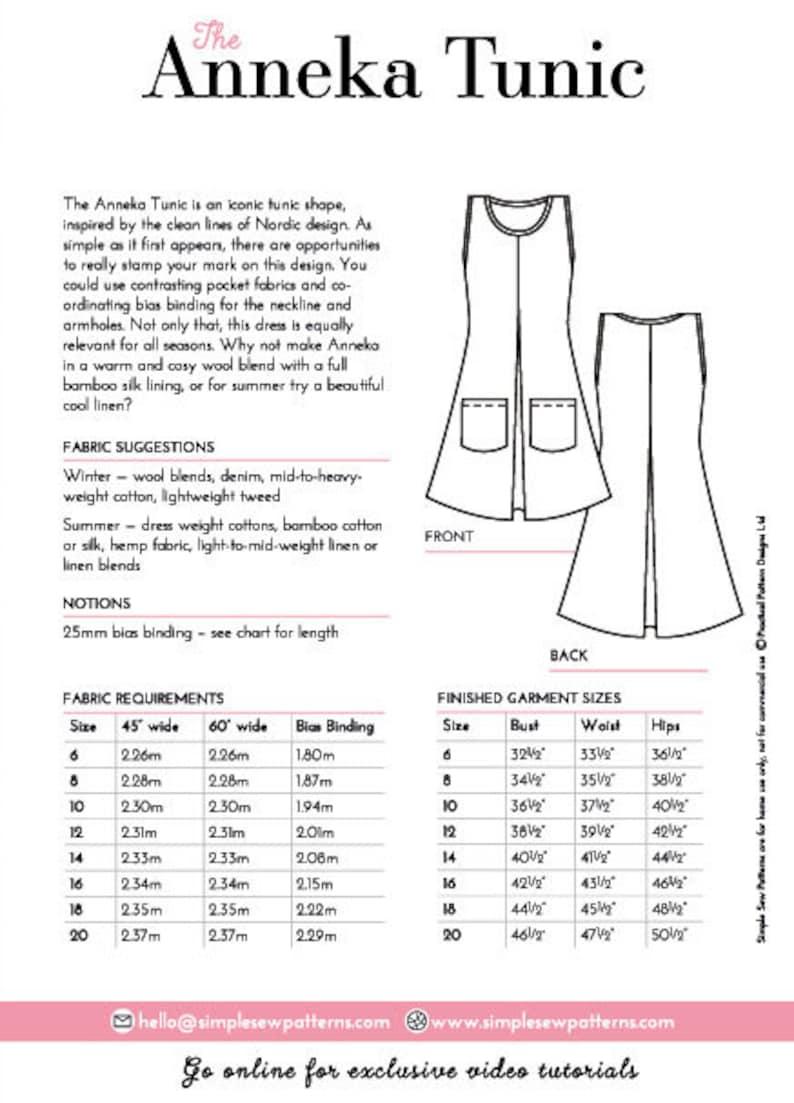 PDF The Anneka Tunic sizes UK 6-20