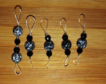 Black and White Marbly Double Stitch Markers
