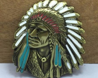 Espectacular Hebilla de bronce de Jefe Indio  d1a46144695