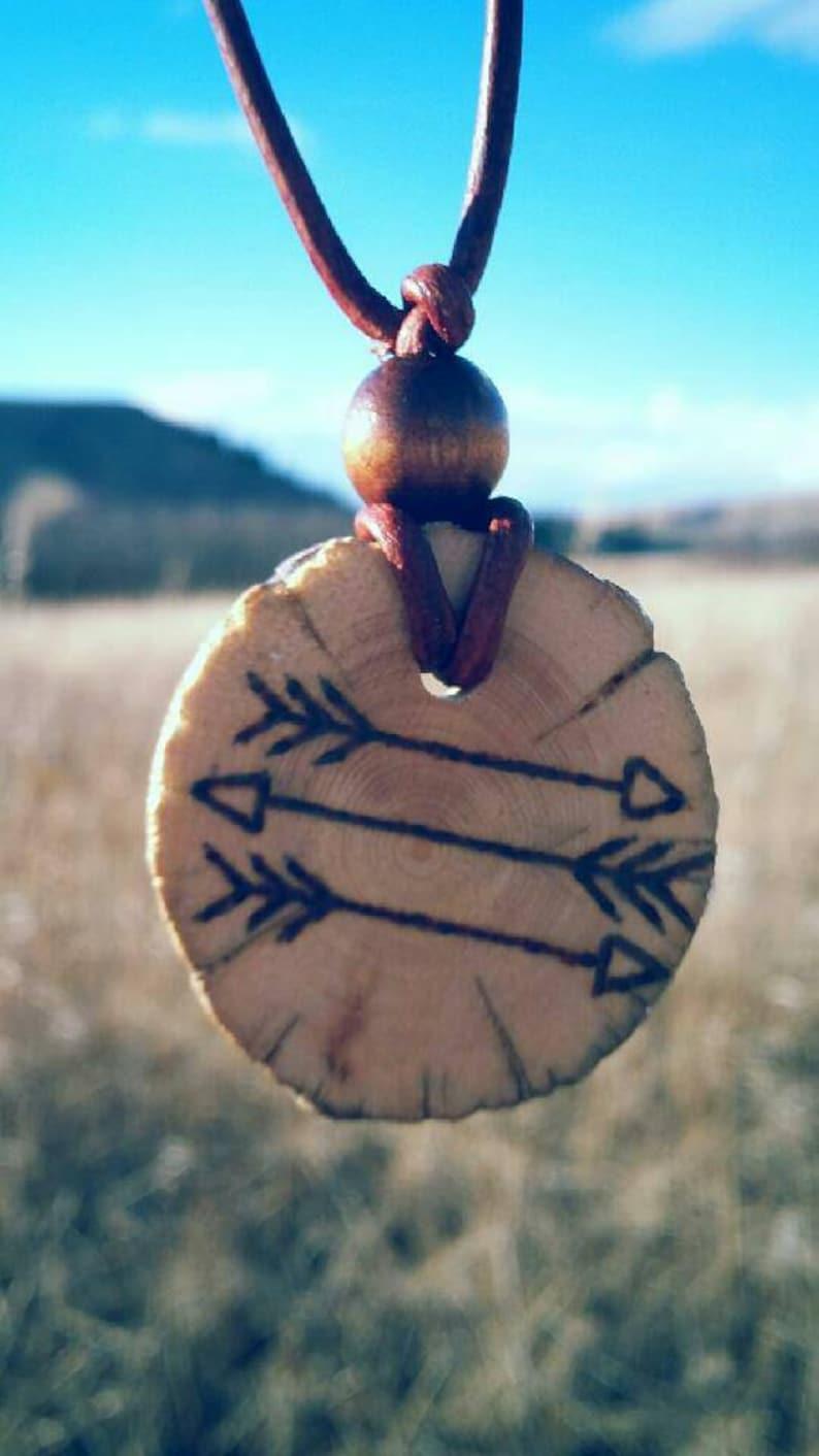 wood burned pendant reclaimed wood outdoors necklace wood jewelry Leather necklace Wood pendant wood slice necklace