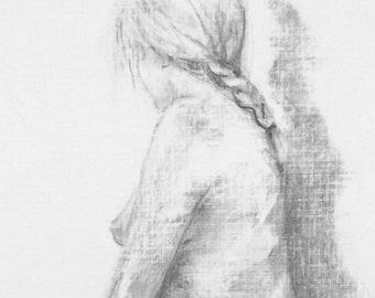 Life Drawing #4, Original Charcoal Sketch