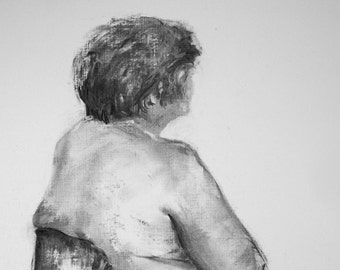 Life Drawing # 5 original charcoal study