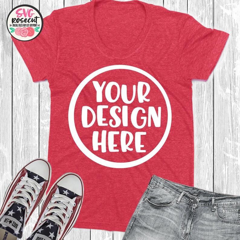470458ec1666e4 Mockup camicia t rosso con jeans e scarpe vuoto tee mockup | Etsy