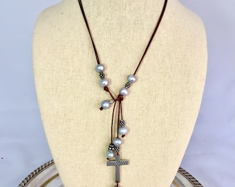 Freshwater Pearls on Leather with Cross