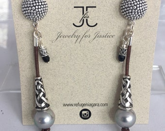 Freshwater Pearls, Leather with Swarovski Drop Earrings