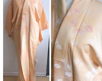 authentic kimono Komon Light orange leaves pattern 100% silk high quality from Japan