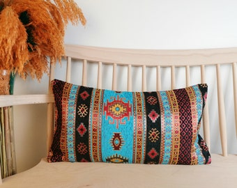 pale blue color kilim pattern 15 x 55 inch lumbar pillow cover decorative bedding pillow cover chenille fabric pillow cover throw pillows