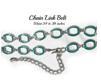 silver chain belt - teal  belt - Fashion belt - silver belt - M /L belt     # B1