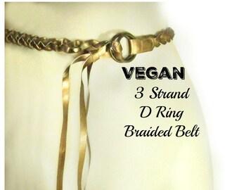 Gold belt - fashion belt - women's belt - casual belt - waist belt - Vegan belt - Braided belt -waist 29 to 33 inches  # B9