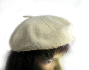 c5aa21cf french beret -wool beret - tan beret -Women's beret - hats and caps - gift  for her - # 36