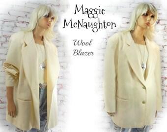 Wool Short Coat -Wool Winter Blazer -Off White -Beige- Cream -women's wool blazer  - Winter Wedding Coat -  Off White Coat  -# 4