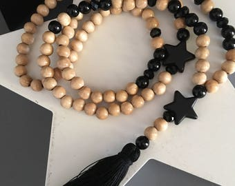 "long Bohemian beaded necklace wood Black Star ""natural"" color and tassel attached"