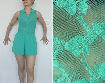 9a515fe15a S Romper jumpsuit lace green with short legs size small M medium summer  green lace on the back vintage overall Jumpsuits onesie overalls