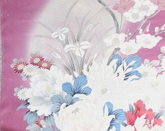 Four Seasons' Flowers  1 - Japanese Silk KIMONO Fabric