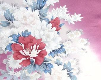Four Seasons' Flowers  2 - Japanese Silk KIMONO Fabric