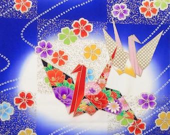 Japanese Silk  Kimono Fabric - Origami Crane Birds (Sample)Purple