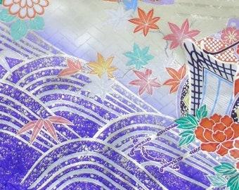 Princess carriages (Sample)- Japanese Silk  Kimono Fabric