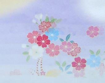 Pastel colours - Japanese Silk Kimono Fabric (new)