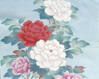 Cherry Blossoms and Peonies  2 - Japanese Silk KIMONO Fabric