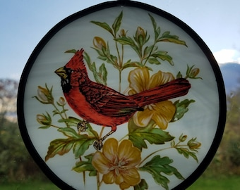 Hand Painted Glass Window Art With Cardinal And Yellow Hibiscus Flowers
