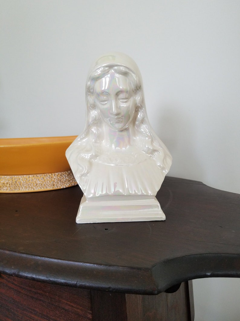 Holland Mold Opalescent Virgin Mary Bust Statue