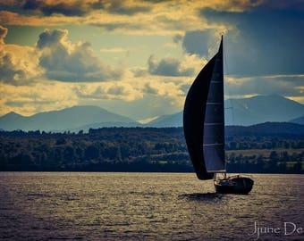 Sailboats, New York,Lake Champlain,Photography,Prints,mountains,water,home decor,summer,Adirondacks,New England