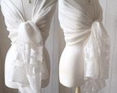 White Pashmina Butterflies Shawl White Faux Pearls Shawl Silk Wrap Wrap Shawl Scarf Brides Bridesmaids Weddings Races Gift Idea