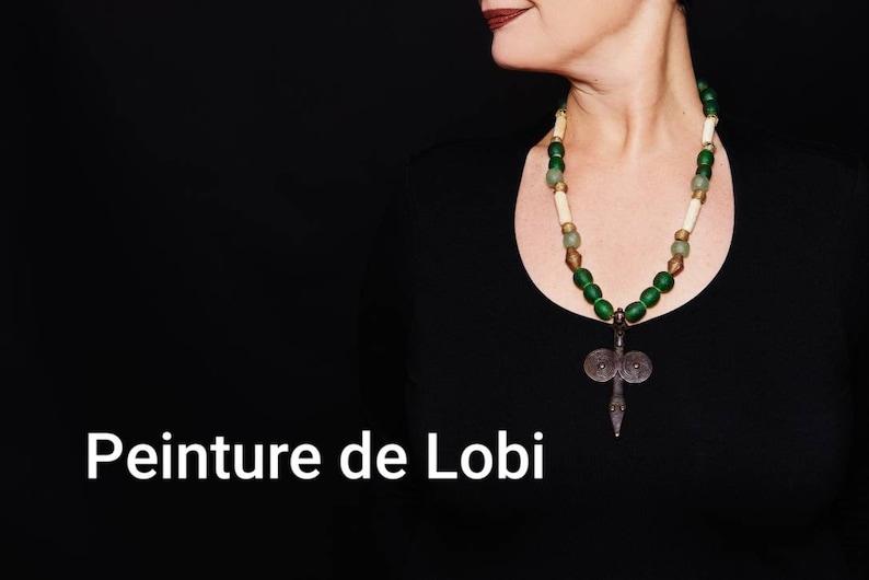 Lobi pendantBone beadsKroboAshanti BronzeBurkina FasoUnique Tribal Creation