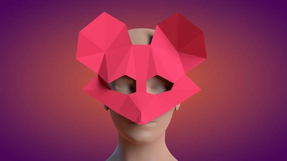 Mouse Papercraft Mouse Mask Pdf Template Mask 3d Etsy