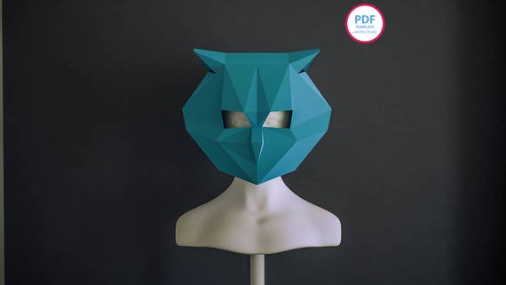 Owl Paper mask Papercraft 3d Owl Paper mask Owl mask PDF   Etsy