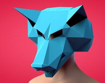 Papercraft, Papercraft Wolf, Papercraft Template, Papercraft mask, Mask Wolf,Wolf mask,3d Papercraft,3d Wolf Papercraft,Paper,Wolf,DIY
