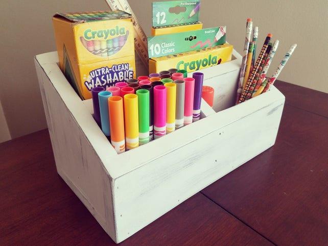 rustic crayon caddy crayon carrier crayon organizer crayon etsy