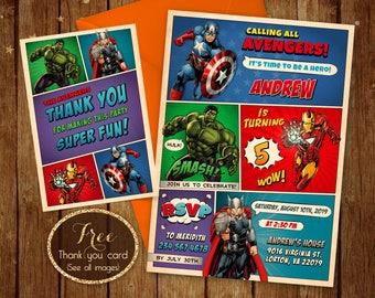 Avengers Birthday Invitation, Printable Avengers Invitations, Avengers Birthday Invite, Superhero Birthday Party, Avengers Birthday Card