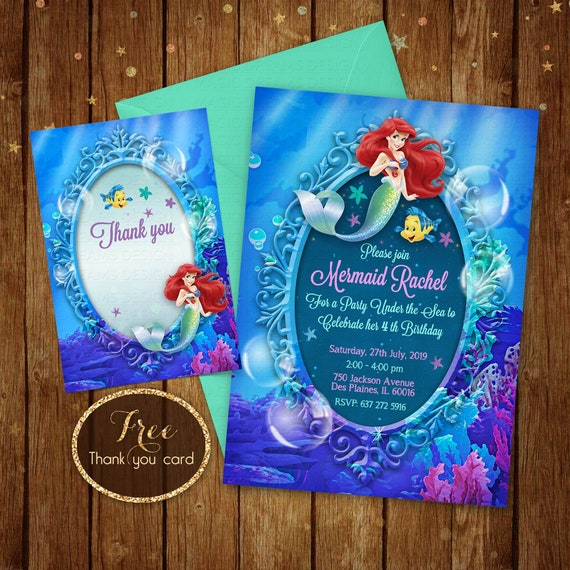 Little Mermaid Invitation Printable Ariel