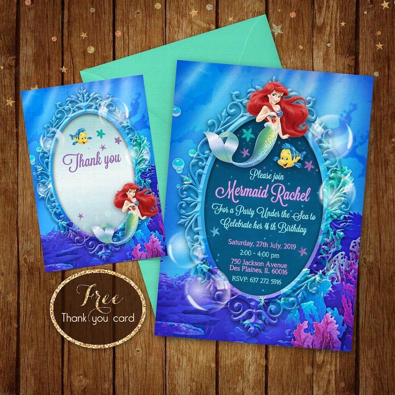 Little Mermaid Invitation Printable Ariel Birthday