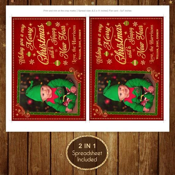 Photo Christmas Cards Printable Holiday Red