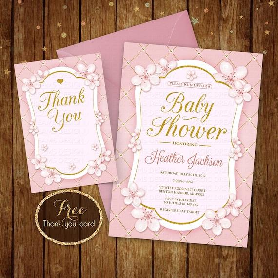 Pink White Gold Baby Shower Invitation White Gold Glitter Etsy