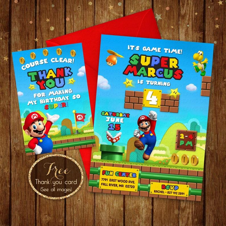 Super Mario Birthday Invitation Printable Super Mario Etsy