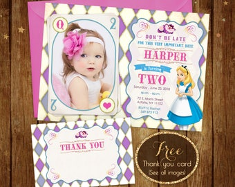 Alice in Wonderland Birthday Invitation with photo, Printable Alice Invite with picture, Girl Alice Invitation Card, Free Thank you Card