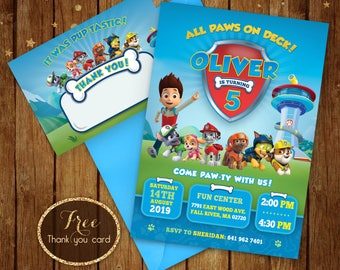 Printable Paw Patrol Birthday Invitation - Paw Patrol Boy Party Invite Card - Puppy Invitation - Ryder -  5x7 or 4x6, Free Thank you Card