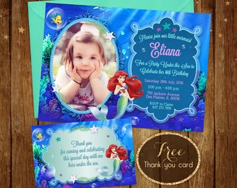Little Mermaid Birthday Invitation with photo - Printable Ariel Invitation - Disney Ariel Invite - Ariel Birthday Party Card with Picture