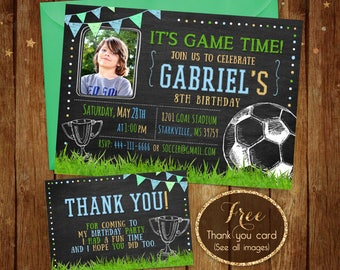 Printable Soccer Birthday Invitation - Football Party Invite with Picture - Sports party Invitation - Boy Sports Birthday Party Invitation