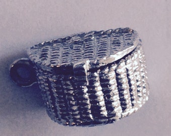 Fishing creel basket with fish sterling silver charm vintage #496