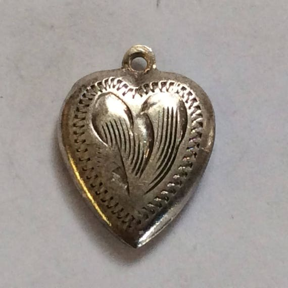 Sterling silver heart love charm vintage # S 763