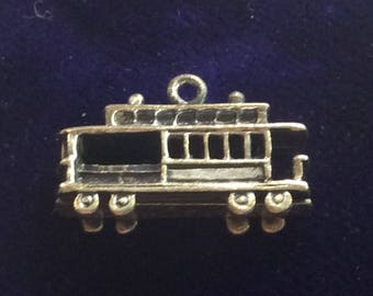 Sterling silver San Francisco tram streetcar cable car charm vintage # 157s