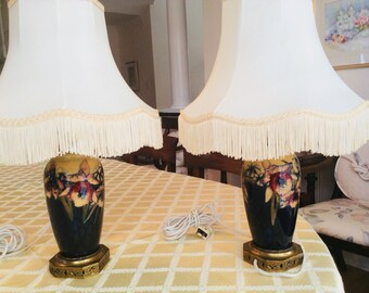 Amazing Moorcroft Pair of matched Orchid lamps designed 1937 antique #2000
