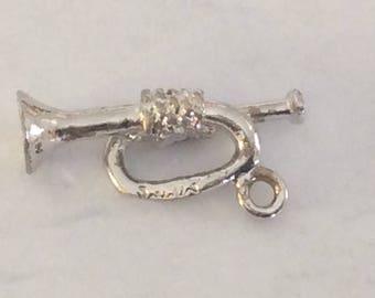 Sterling silver marching band trumpet charm vintage #704 s