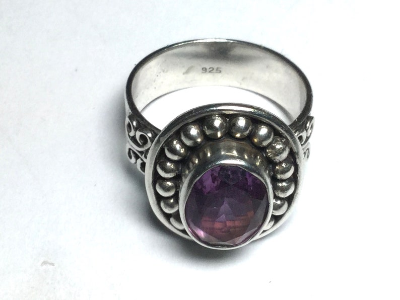 Sterling silver and Amethyst gemstone ring size 6 12 # 1107