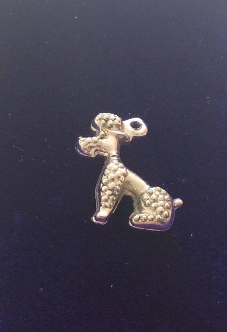 Sterling silver poodle pet dogcharm vintage # 1132