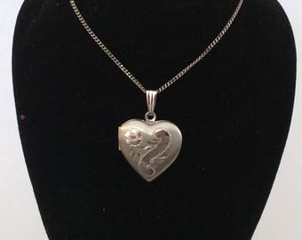 Sterling silver heart picture locket with chain 552 s